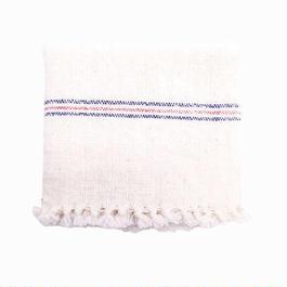 手紬ぎハンドタオル (青赤ストライプ)  Handspun hand towel (blue-red)