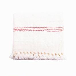 手紬ぎハンドタオル (赤ストライプ)  Handspun hand towel (red stripe)