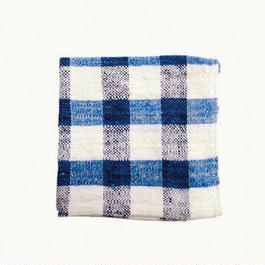 手紬ぎハンカチ (青ギンガム)  Handspun handkerchief (blue gingham)