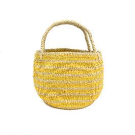ワイルドバナナバスケット(イエロー)  Wild banana's fiber handwoven baskets(Yellow)