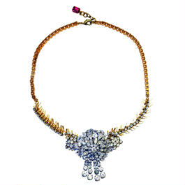 Vintage Renaissance ネックレス Fringed flower rhinestone statement necklace VRNL 01