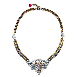 Vintage Renaissance ネックレス  Victorian rhinestone center statement necklace VRNL 05