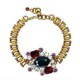 Petit Bouton ブレスレット Black & red rhinestone Czech button bracelet PBBR 03