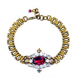 Petit Bouton ブレスレット Pink rhinestone Czech button bracelet PBBR 04