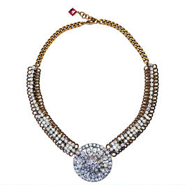 Vintage Renaissance ネックレス Circle rhinestone statement necklace VRNL 06
