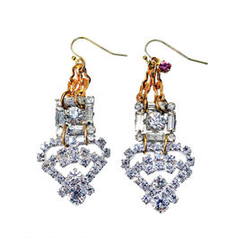Vintage Renaissance イヤリング  Vintage bucles rhinestone earrings VRER02