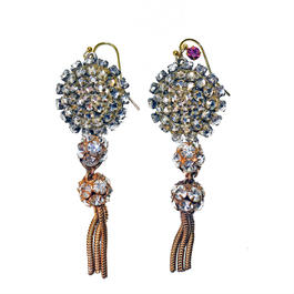 Vintage Renaissance イヤリング  Victorian rhinestone button earrings VRER01
