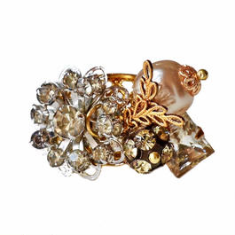 Perles Baroque リング Baroque pearl, flower rhinestone statement ring PBRG03