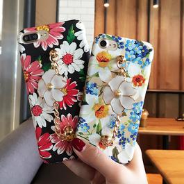 2017花柄★マーガレット&水仙チャーム付 iphoneケース