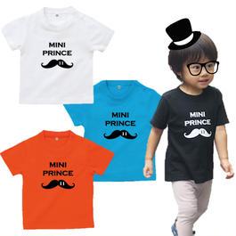 MINI PRINCE 男の子ベビーTシャツ(ヒゲ)文字ブラック