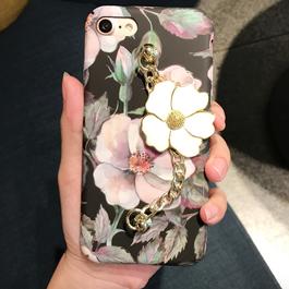 春★シックなフラワープリント&チャーム付 iphoneケース