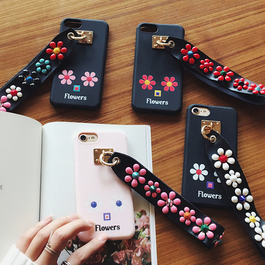 2017春★カラフルFlowersスタッズストラップ付 4色iphoneケース