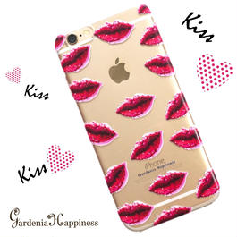 透明スマホケースAICA-46 KissKissKiss♡ iPhone5/5s/SE/5c/6/6s