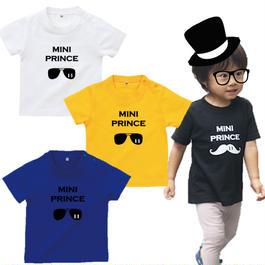 MINI PRINCE 男の子ベビーTシャツ(サングラス)文字ブラック