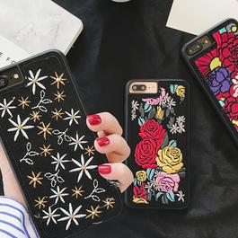 選べる3デザイン刺繍小花/バラ/大輪iphoneケース