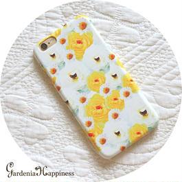 スマホケースAICA-45 フェアリーローズ×マーガレット Yellow iPhone5/5s/SE/5c/6/6s/Android