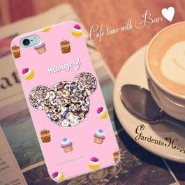 スマホケースAICA-28 Hungryベア ピンク iPhone5/5s/5c/6/6s/SE/Android