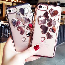 メタリックハート 3色選べるシリコンラバー透明iphoneケース