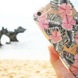 透明スマホケースAICA-65  水彩画ハイビスカス iPhone6Plus/6sPlus