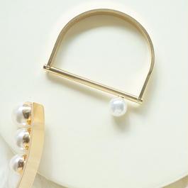 【完売】1パールスタイリッシュブレスレット ゴールド