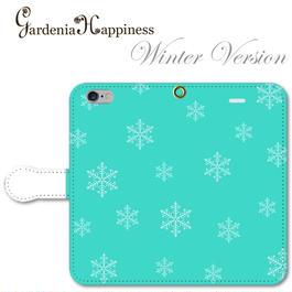 手帳型スマホケース AICA-104 エレガントブルー Winter Version 雪の結晶 大きいサイズiPhone/Android L