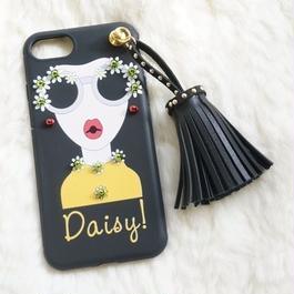Daisy Girl タセッル付き  ブラック iphone用スマホケース