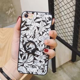 モノトーンボタニカル柄 iphoneケース スマホリング付