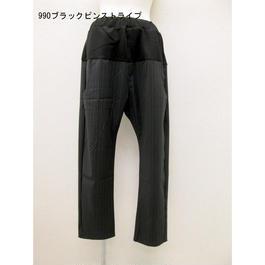 ポケット配色イージーパンツ(黒ピンスト)PT-9648Cc/#900