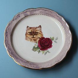 猫バラ小皿 ペルシャ猫