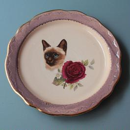 猫バラ小皿 シャム猫