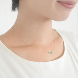 K14gf小粒天然ターコイズの華奢ネックレス