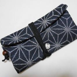 特選 道中財布 濃紺銀ラメデニム製 麻の葉 銀