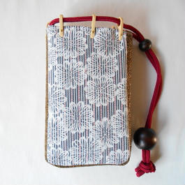 スマホケース ストライプデニム製 花柄 胡粉