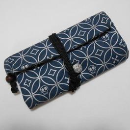 道中財布 デニム製 紺 髑髏(ドクロ)七宝 銀