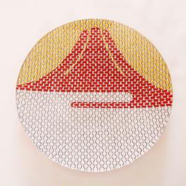 ガラス製 豆皿・飾り皿 赤富士 ミニ 純金箔・銀箔