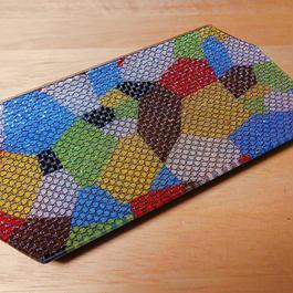 ガラス製 トレイ 八角 乾山色絵石垣紋 金箔