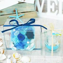 Summer gift/プリザーブドローズのアレンジメントと キャンドルセット【marine blue】