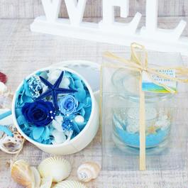 Summer gift/プリザーブドローズのboxアレンジメント とキャンドルセット【marine blue】