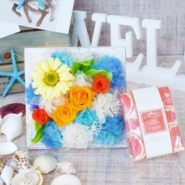 Summer gift/プリザーブドフラワースタンドと サシェのセット【ピンクグレープフルーツの香】