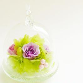 プリザーブドローズのドームアレンジメント【purple&lime】