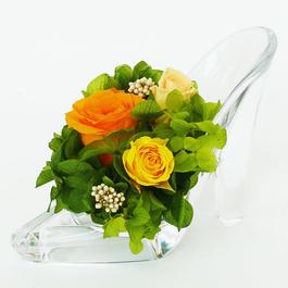 プリザーブドローズのガラスの靴アレンジメント【orange&green】