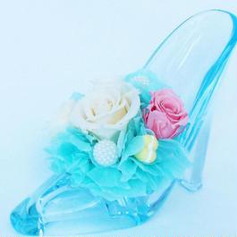 プリザーブドローズのガラスの靴アレンジメント【blue&pink】