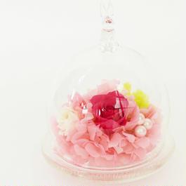 プリザーブドローズのドームアレンジメント【pink&white】