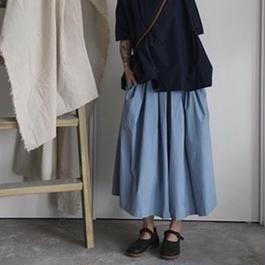 2colors-wide leg skirt pants