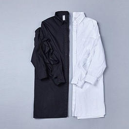 2colors-pure frill sleeved blouse