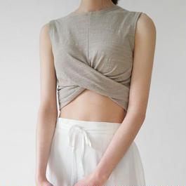 2color-sleeveless twist top