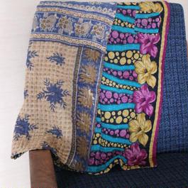 Small Kantha Blanket スモールカンタブランケット(パープルxベージュ)