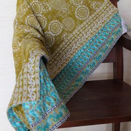 Small Kantha Blanket スモールカンタブランケット(ブルーxグリーンティー)