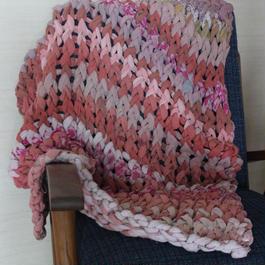 Chunky Knit Throw ミニチャンキーニットブランケット(ピンク)