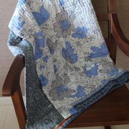 Small Kantha Blanket スモールカンタブランケット(ブルーグレーxホワイト系)